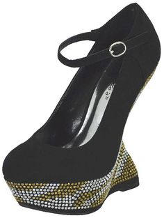 Breckelle Shanon-03 Rhinestone Heel Less Platform Wedge Shoes BLACK -- You can find out more details at the link of the image.