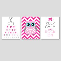 Modern Nursery Trio - Set of Three 8x10 Prints - You Are My Sunshine Eye Chart, Chevron Owl, Keep Calm and Rock On - Pink and Gray. $55.00, via Etsy.