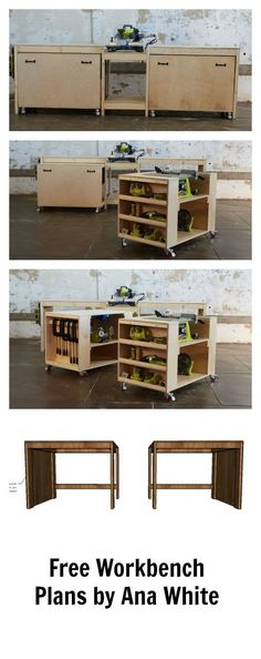 Ultimate Roll Away Workbench with Miter Saw Stand Amazing easy roll away diy workbench with built in mitersaw, table saw and kreg jig. Free plans by ana- space saving design features two large work carts with embedded bench tools. Make building easier! Woodworking Bench Plans, Wood Plans, Woodworking Projects Diy, Woodworking Furniture, Furniture Plans, Teds Woodworking, Wood Projects, Diy Furniture, Popular Woodworking