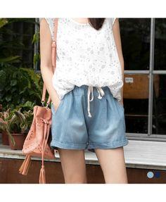 Floral Mix-up Denim Shorts - 2 Colors