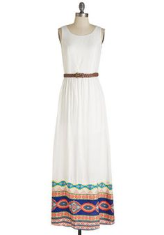 In Border of Importance Dress. Style your way through vacay starting with the dress youre most excited to sport - this white maxi! #multi #modcloth