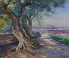 """Ute Herrmann """"Olivenbaum am Lavendelfeld"""". Die Kunstmalerin zeigt die wunderschöne Landschaft des Luberon in der Provence."""