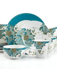 222 Fifth China Eliza Teal 16 pc Dinnerware Set
