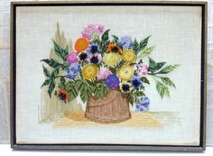 SALE 20 off Down from 50. Crewel Framed Embroidery by frannyandseb