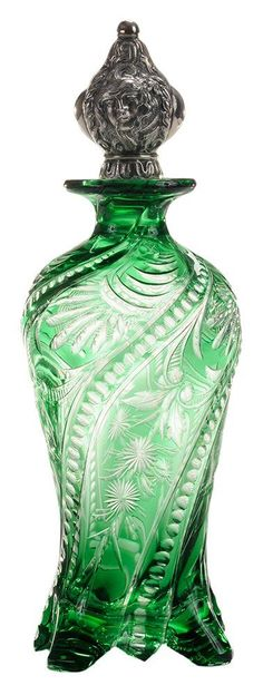 Engraved to Colorless Crystal Cologne Bottle. English, circa 1900.