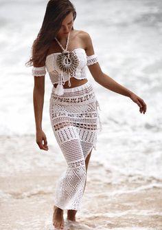Carnaval Festival Top y ropa de playa de faldas de ganchillo
