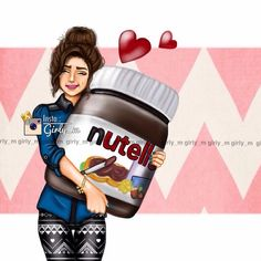nutella, girly_m, and art image Girly M, Girly Girl, Beautiful Girl Drawing, Cute Girl Drawing, Beautiful Drawings, Drawing Art, Girl Cartoon, Cute Cartoon, Best Friend Drawings