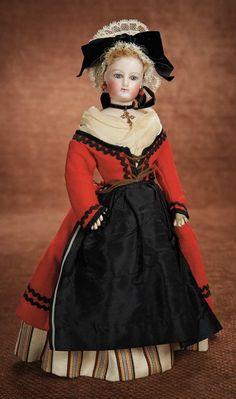 At Play in a Field of Dolls (Part 1 of 2-Vol set): 76 Petite French Bisque Poupee in Beautiful Original Folklore Costume