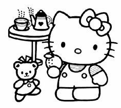 Hello Kitty Is Having A Fun Teaparty With Her Bear In This Coloring Page Free Printable Pages
