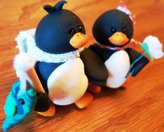 Fimo (Sculpy?) penguins.