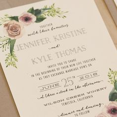 Floral Watercolor Invitation Rustic Wedding by JenSimpsonDesign
