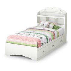 This charming set from the Tiara collection features lots of storage space, as well as a delightful feminine style that'll enthrall your little princess! Its multiple storage spaces – the open ones in the bookcase headboard and the drawers in the mates bed – will be essential when you're organizing her things. And the decorative moldings and jewel like handles round out this cute little duo beautifully. <br>Pairs well with pieces in the same finis...