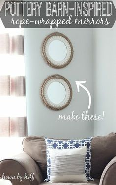 Pottery Barn hacks are a lifesaver for your wallet. We've got DIY furniture tutorials, DIY room decor and kids bedroom ideas that are Pottery Barn inspired. Rope Mirror, Diy Mirror, Rope Frame, Driftwood Mirror, Mirror Makeover, Mirror Mirror, Diy Design, Pottery Barn Hacks, Creative Crafts