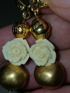 MJ-129; A Pair of Gold and Ivory Colored Earrings- Gold Beads and Findings with a Sweet Ivory Rose Cornicello, Upcycled Crafts, Craft Items, Gold Beads, Pearl White, Mj, Ear Piercings, Gold Earrings, Compliments