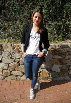It girl  , Stradivarius in Blazers, Mango in T Shirts, Zara in Jeans, Converse in Sneakers