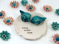 Wedding cake topper Love birds in a color of your by orlydesign, $78.00