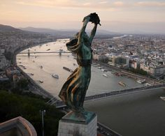 The windswept Liberty Statue overlooking Budapest built in 1947