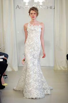2014 New Hot Mermaid, Lace Hand-made Flowers/AppliqueCourt Train Wedding Dress