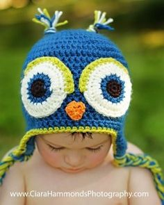 Owl Earflap hat CROCHET PATTERN-20 includes 4... like this color combo for a boy