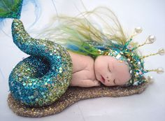 fairy pixie sleeping baby mermaid art doll polymer clay sculpt