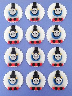 12 Fondant Cupcake Toppers - Thomas the Tank Engine Inspired Edible Decorations. $17.95, via Etsy.