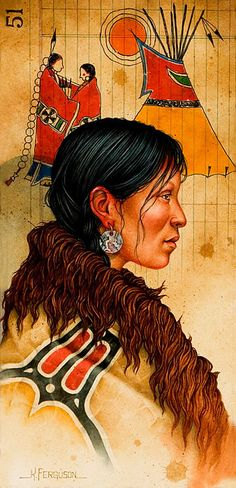 turk-sanat - Kenneth Ferguson Native American Drawing, Native American Tattoos, Native American Paintings, Native American Artists, Native American Women, American Indian Art, American Traditional, Indian Paintings, Native American Indians