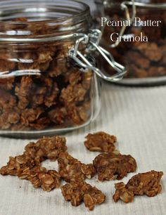 Peanut Butter Granola from Chocolate, Chocolate and more #granola #snack #peanut butter