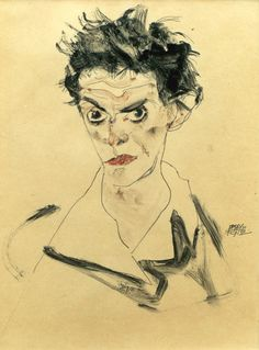 Egon Schiele, self-portrait (1912)More Pins Like This At FOSTERGINGER @ Pinterest