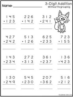 3 Digit Addition Without Regrouping Worksheets by Learning Desk Math Addition Worksheets, First Grade Math Worksheets, 3rd Grade Math Worksheets, Printable Math Worksheets, Subtraction Worksheets, School Worksheets, 2nd Grade Math, Math Sheets, Math Notebooks
