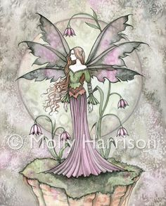 Tranquil Moon - Flower Fairy Watercolor Illustration - Fine Art Giclee Print by Molly Harrison Fantasy Art