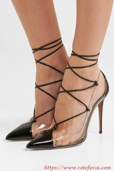 Aquazzura - Magic lace-up PVC and patent-leather pumps Talons Sexy, Beautiful High Heels, Evening Shoes, Patent Leather Pumps, Fashion Sandals, Lace Up Heels, Aquazzura, Ankle Straps, Leather And Lace