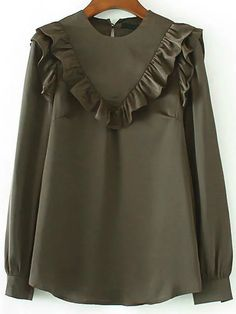 Army Green Ruffle Trim Chiffon Blouse 2019 Army Green Ruffle Trim Chiffon Blouse -SheIn(abaday) The post Army Green Ruffle Trim Chiffon Blouse 2019 appeared first on Chiffon Diy. Latest Street Fashion, Fashion 2017, Hijab Fashion, Fashion Dresses, Cute Blouses, Blouses For Women, Blouse Styles, Blouse Designs, Designs For Dresses