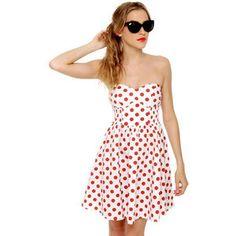 Mink Pink Memories Dress - Strapless Dress - Polka Dot Dress