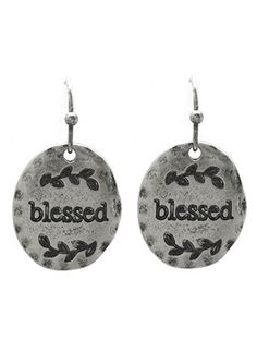 Oval BLESSED aged earrings