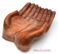 XLarge balinais bois offre mains 8 sculpté à la par BlissCrystals