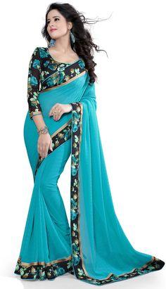 Factoryprice Women's Firozi Chiffon Saree (flower-814_firozi_freesize)