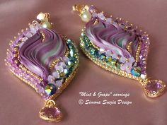 """Mint & Grape"" earrings with shibori silk © Simona Svezia Design, 2014 https://www.etsy.com/it/shop/PerlineeBijoux http://www.misshobby.com/it/negozi/perline-e-bijoux"