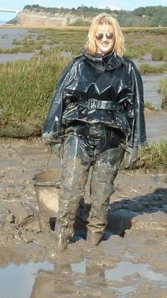 Muddy black hip waders and pvc rain gear Shiny Days, Wellies Boots, Rain Boots, Rubber Raincoats, Rain Gear, Weather Wear, Wet Look, Clothes For Women, Lady