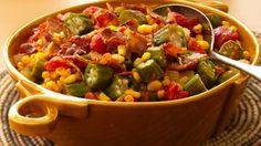 Okra, Corn and Tomatoes