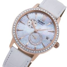 Orient Ladies Watch RA-AK0004A10B Ladies Watches, Mother Pearl, Stainless Steel Case, Pearl White, White Leather, Rolex Watches, Rose Gold, Jewels, Glass