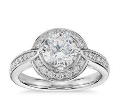 1.38 tcw Round Cut Diamond 14 k Solid White Gold Halo Pave Set Wedding Engagement Ring