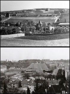 Old Paintings, History Photos, More Pictures, Czech Republic, Prague, Railroad Tracks, Paris Skyline, Architecture, Places
