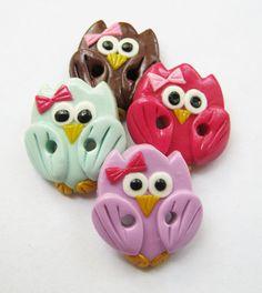 Cute little owl  polymer clay handmade craft buttons di ayarina