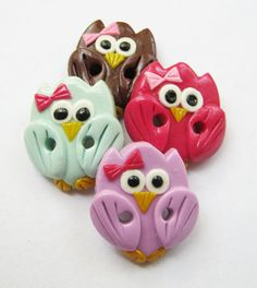 Cute little owls  set of 4 polymer clay  buttons  3/4 by ayarina, $8.50