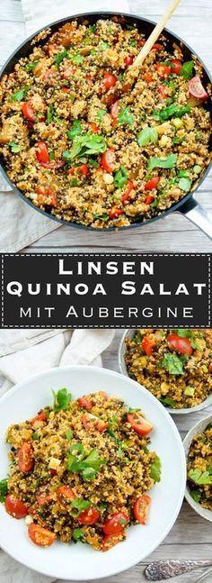 Linsen Quinoa Salat mit Aubergine und Tomaten Rezept, Vegan, Vegetarisch, Low-Carb, LowFat, healthy, einfache, gesunde Rezepte Elle Republic