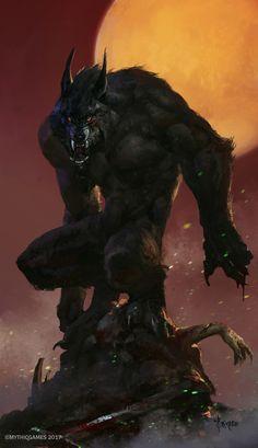 Werewolf concept by Bayard Wu Dark Fantasy Art, Dark Art, Fantasy Wolf, Werewolf Art, Vampires And Werewolves, Fantasy Monster, Monster Art, Mythological Creatures, Mythical Creatures Art