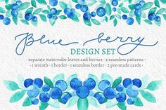 Blue Berries Watercolor Design Set by Yashroom on @creativemarket
