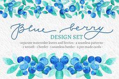 Blue Berries Watercolor Design Set by Yashroom on @creativemarket