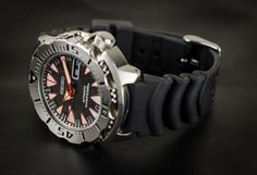 "New Seiko Black Monster ""Dracula"" only comes with a black rubber strap, which is just fine because I think this particular model looks great on a shark-mesh bracelet."