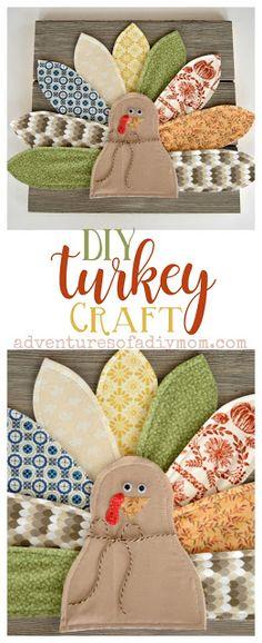 DIY Thanksgiving Home Decor - Fabric Turkey Craft
